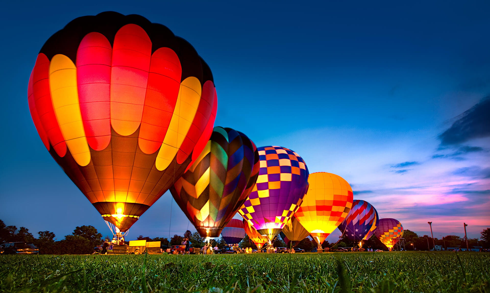 Multi-colored hot air balloons